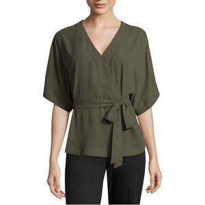 NWT Worthington Kimono Sleeve Tie Front Blouse
